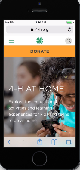 4-h at home responsive view on iPhone SE. Creating a microsite in two weeks.
