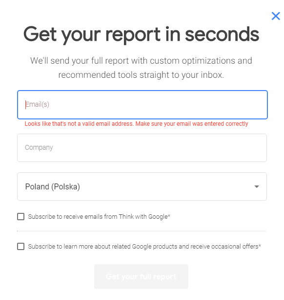 Test My Site full repot form on How to Measure your mobile site speed
